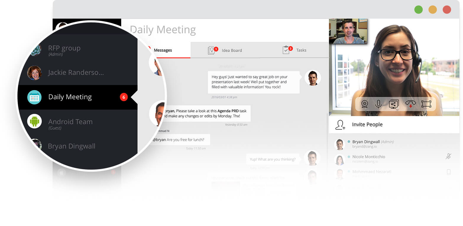 Image of daily meeting calendar, video conference with a woman and man, message board